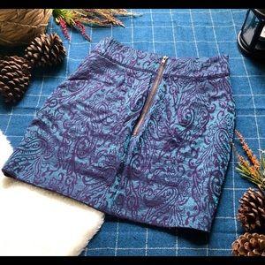 Anthropologie skirt, metallic purple blue, size 6